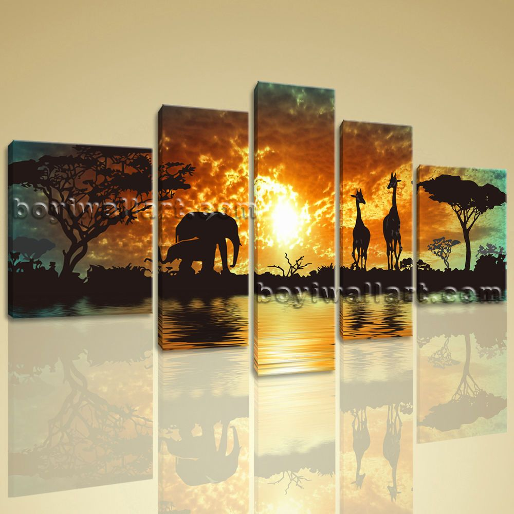 XXL Large Stretched Canvas Print Africa Landscape Painting Tree ...