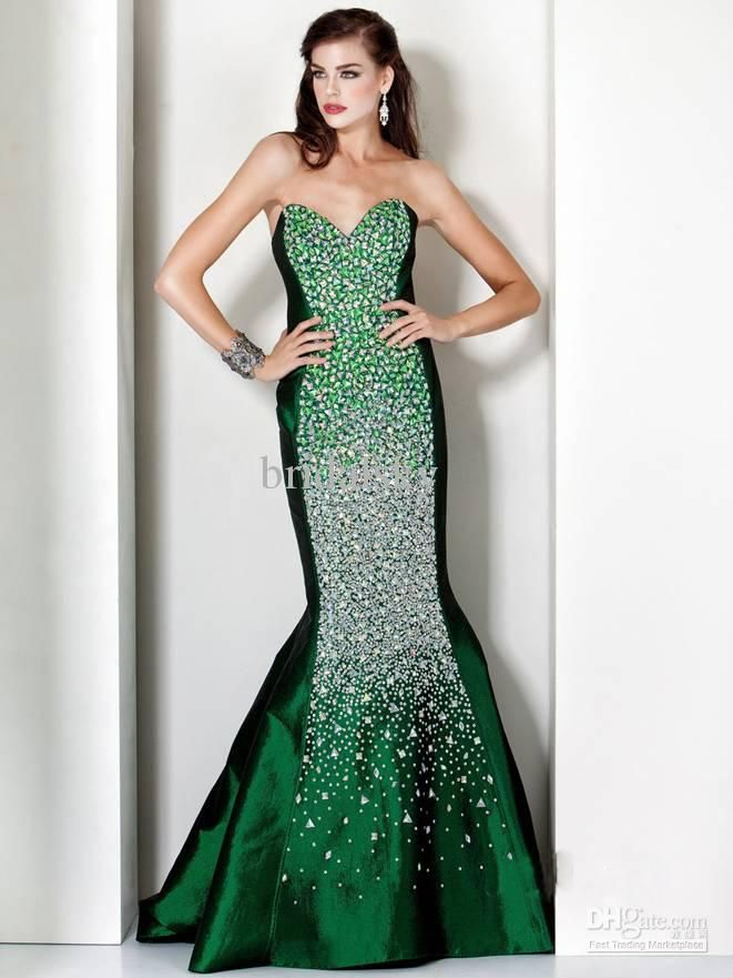 Green Wedding Dresses with Rhinestones | Welcome To My Store ...