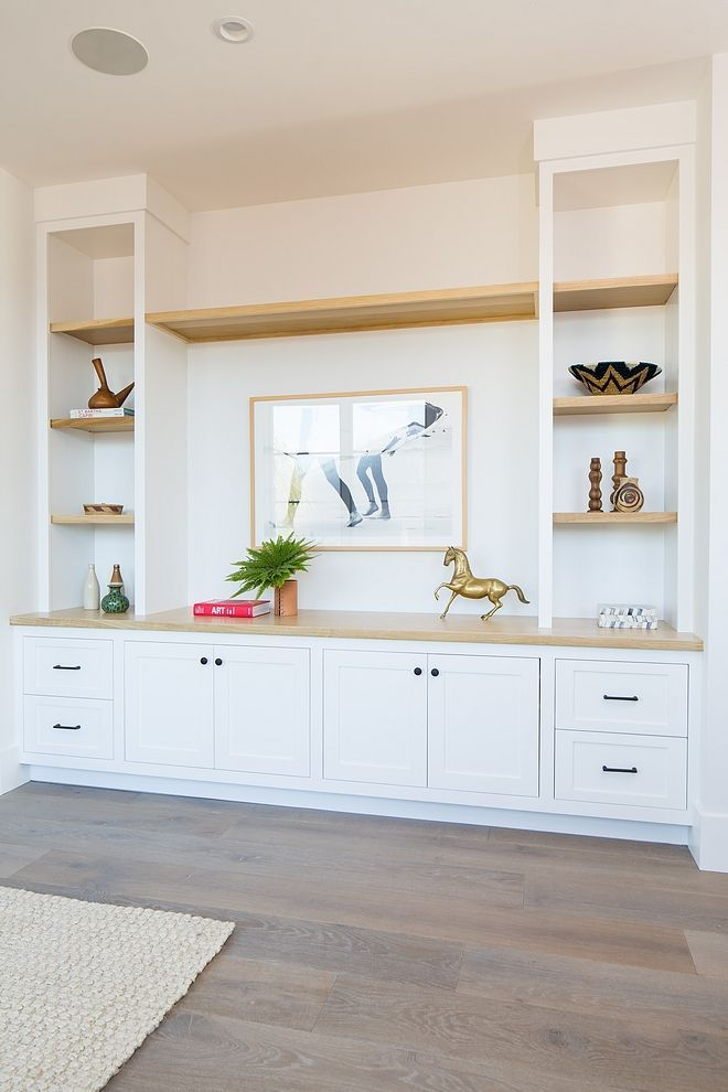 Photo of Custom built-in with white oak shelves –  Custom built with shelves made of whit…