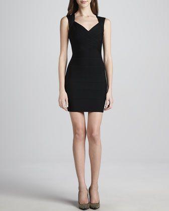 Crisscross Open-Back Bandage Dress, Black by Herve Leger at Neiman Marcus.