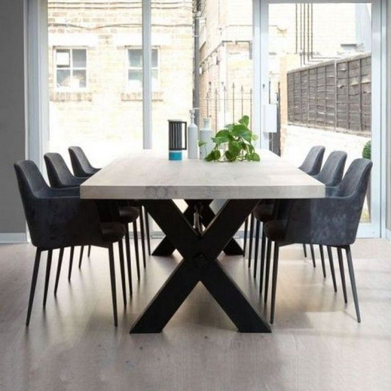 24 Top Modern Industrial Dining Furniture Set Design And Decorating Ideas Stone Dining Table Concrete Dining Table Metal Dining Table
