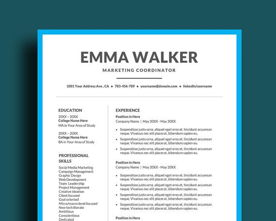 DIY Resume Template for Word 3 pages Including Cover Letter Plus
