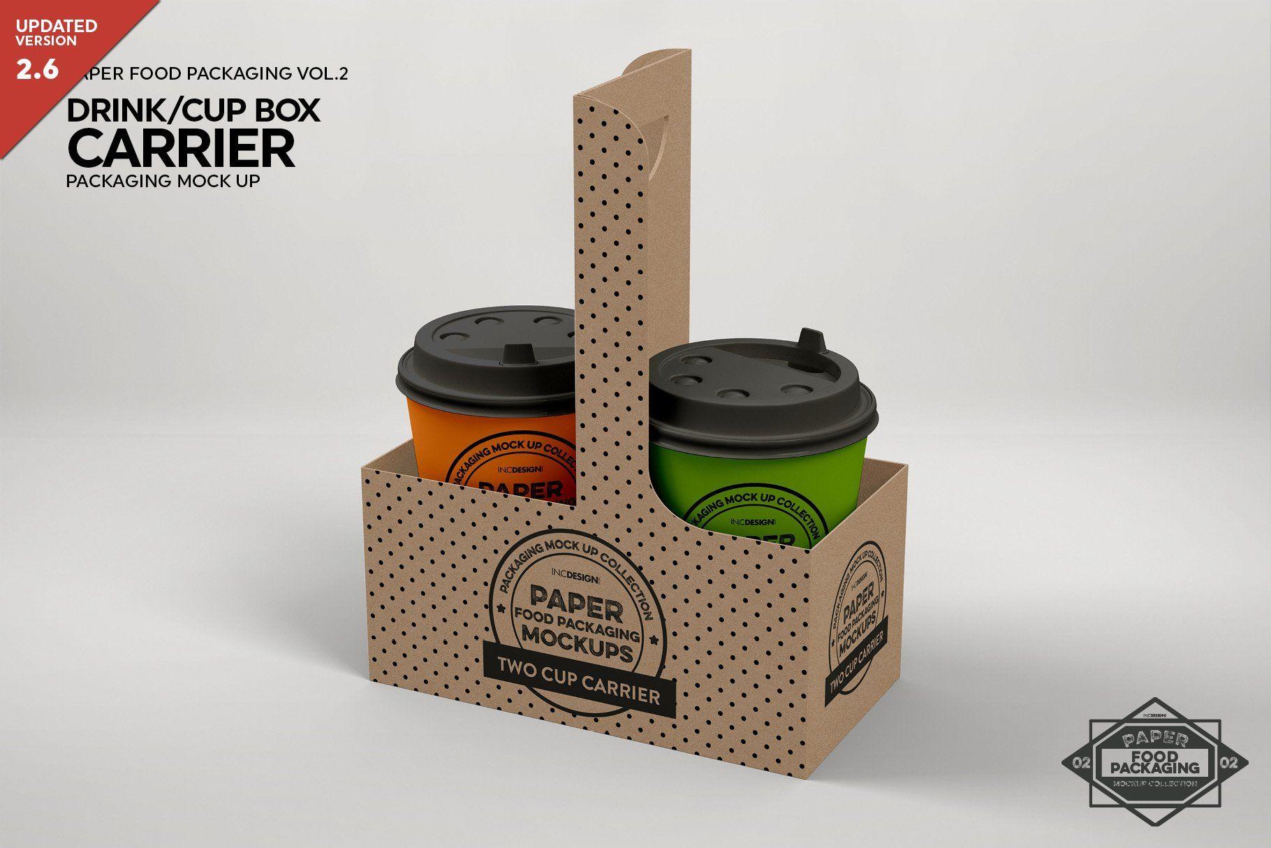 Drink Cup Carrier Packaging Mockup Packaging Mockup Design Mockup Free Free Packaging Mockup