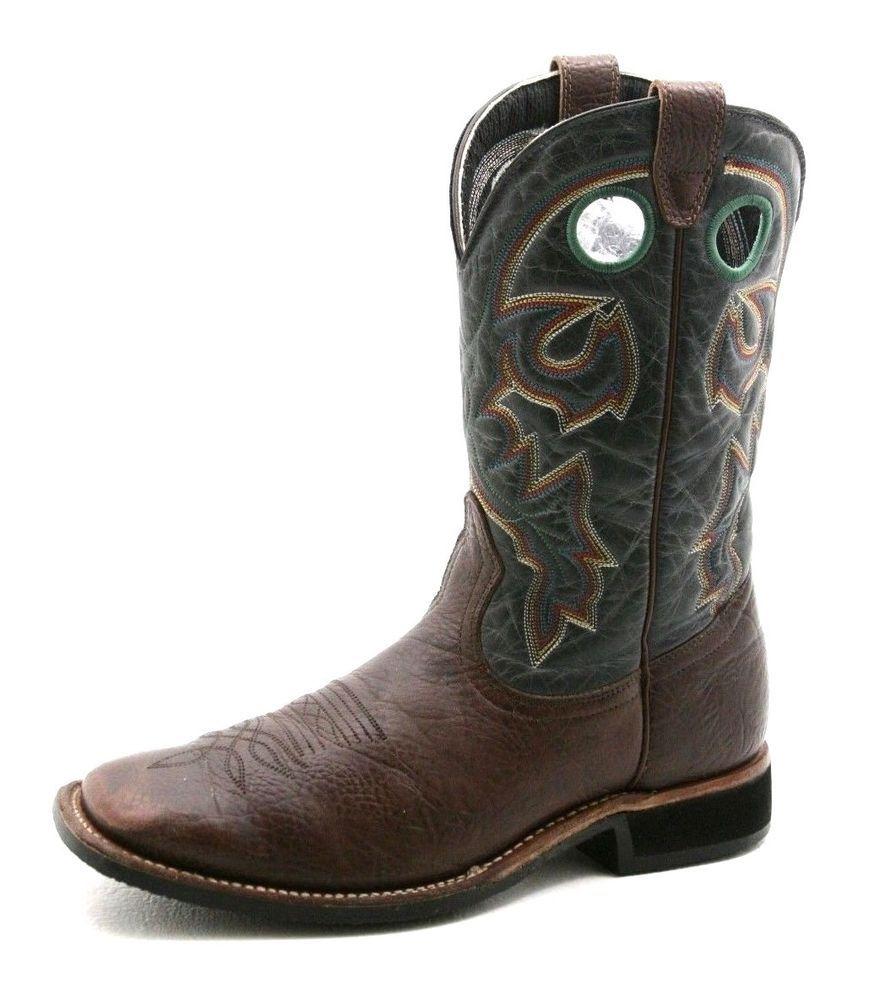 46ba926d800 Boulet mens Cowboy Boots Size 10 vintage brown leather square toe ...