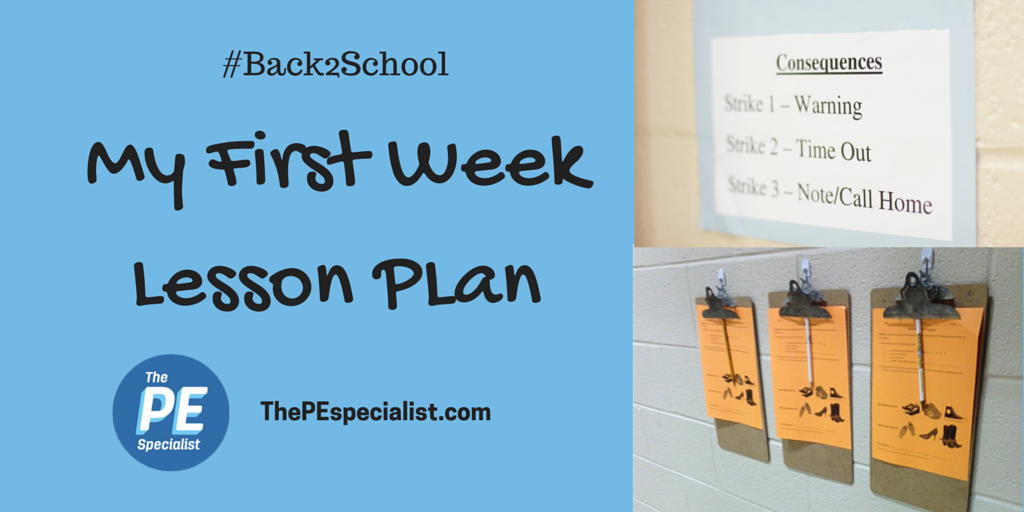 My First Week of School Lesson Plan for PE Teachers