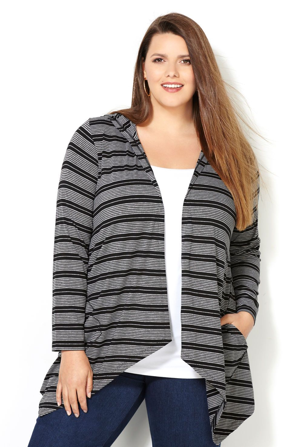 Striped Hooded Cardigan with Pockets-Plus Size Cardigan-Avenue ...