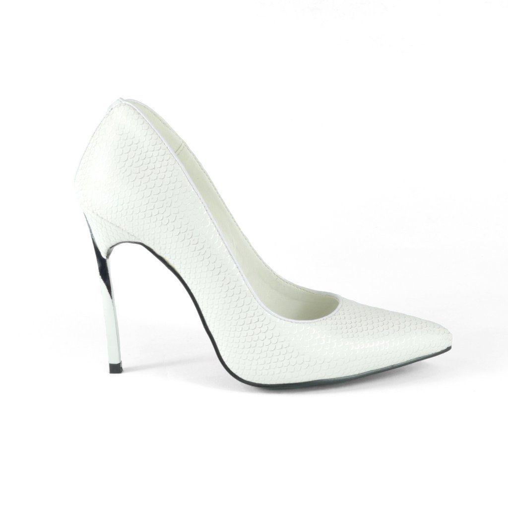 00d51b8d3 Collection and Co white and metallic snake-effect faux leather court shoe  shaped with a pointed toe. Has a unique slim silver metallic heel and a  trim ...