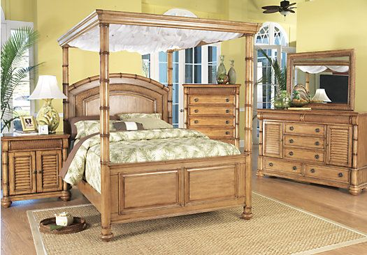 Cindy Crawford Key West Queen Light Pine 6Pc Canopy ...