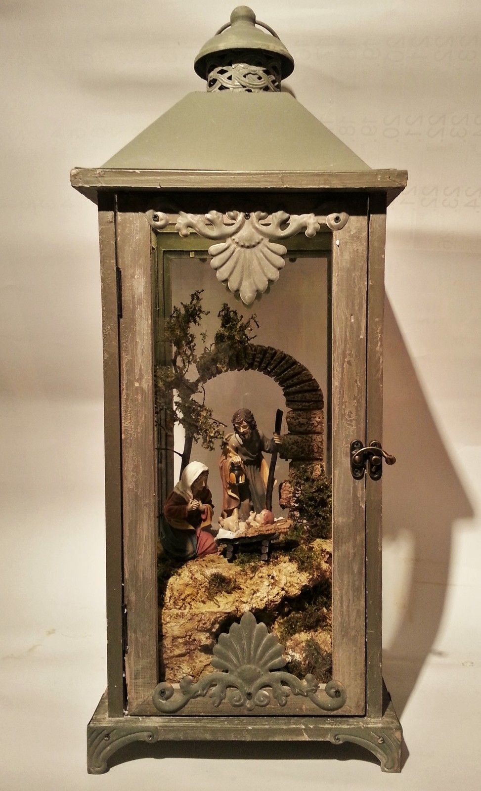laternen krippe mit beleuchtung und figuren 60 cm hoch ebay nativity krippen pinterest. Black Bedroom Furniture Sets. Home Design Ideas