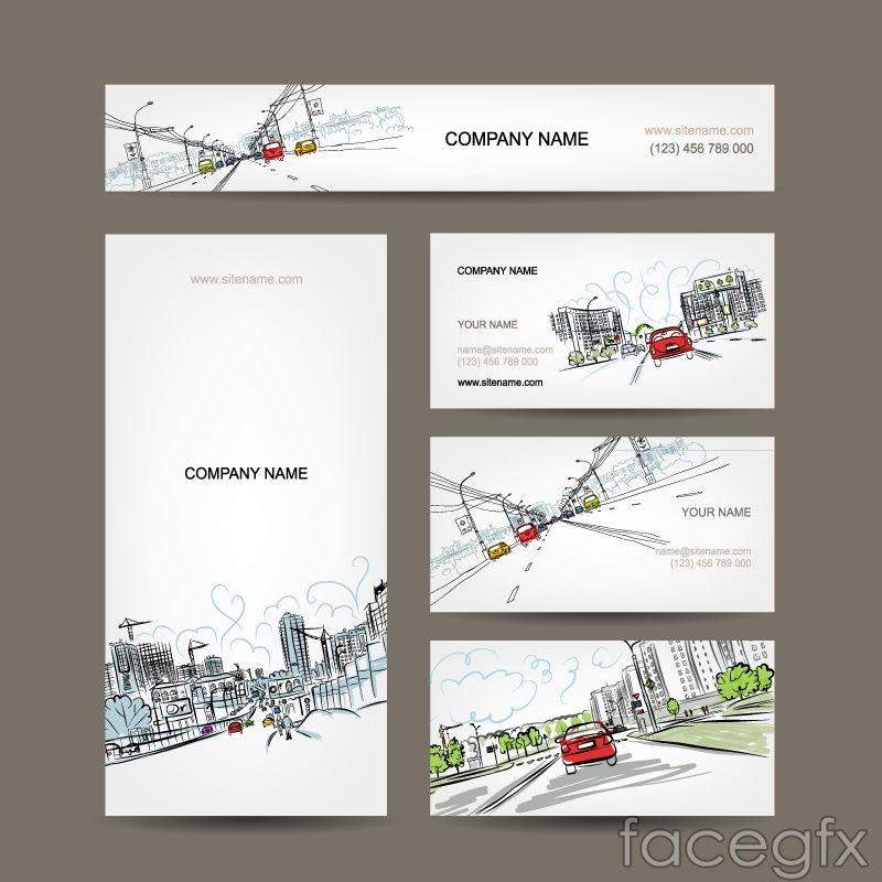 Hand Painted Urban Landscape Design Business Cards Vector Vector Business Card Business Card Design Urban Landscape Design