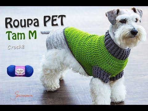 Oi pessoal, nesta aula vamos fazer a roupinha de cachorro feito em crochê, tamanho M para aquecer nossos queridos cachorrinhos do frio! Utilizei a lã Mollet ...