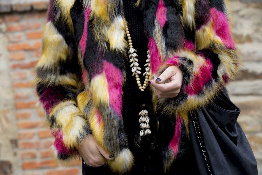 Fluor fur faux jacket