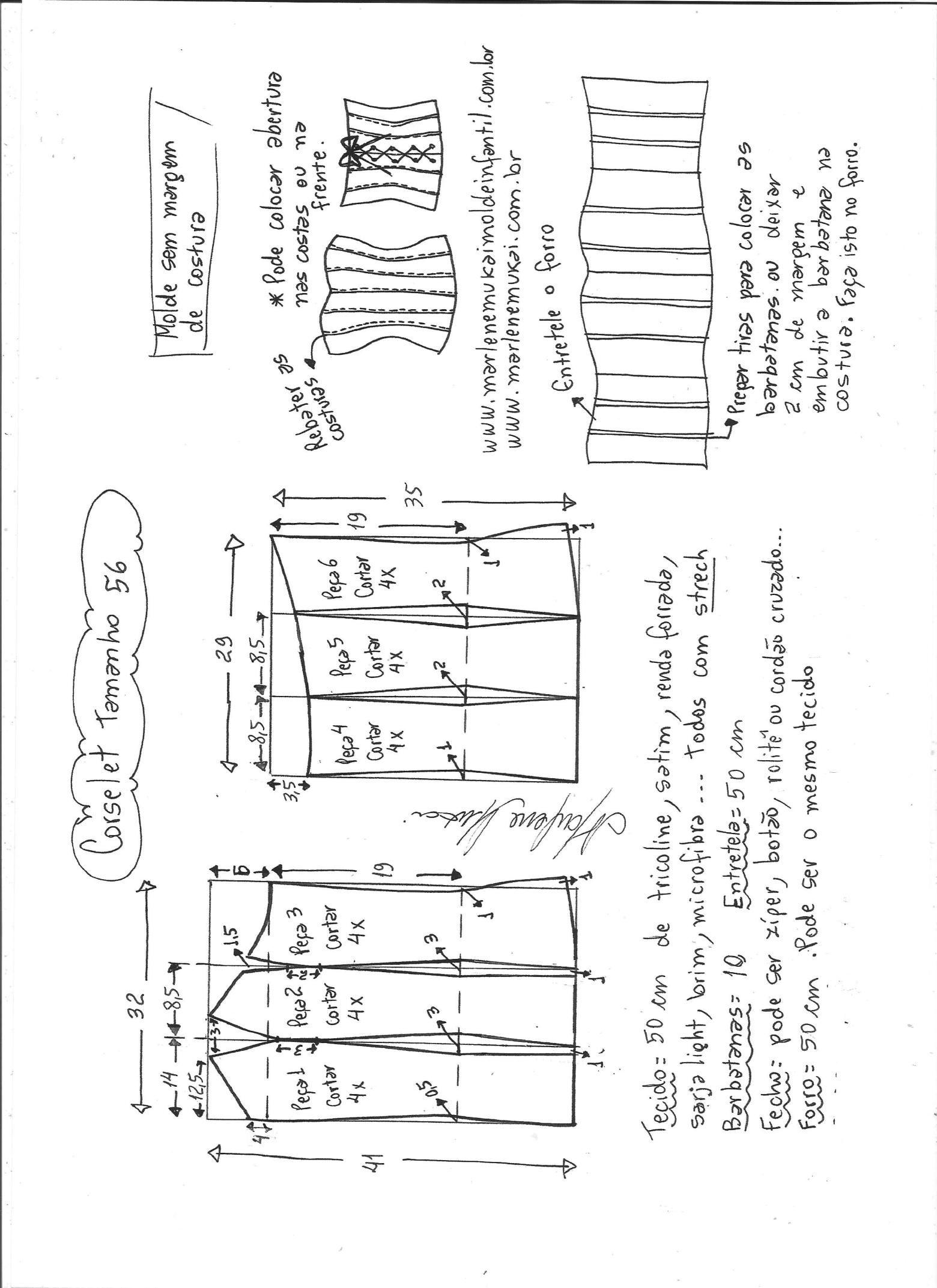 Esquema de modelagem de corselet tamanho 56. | corsét | Pinterest ...