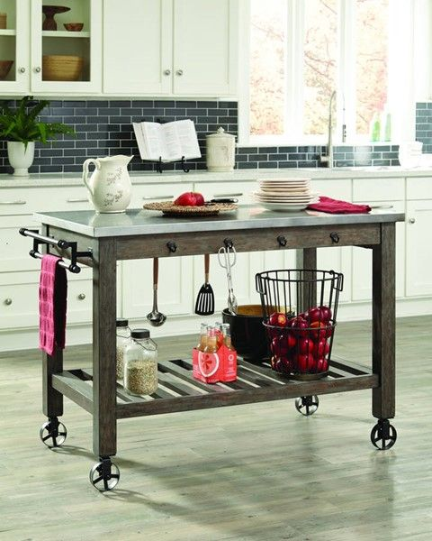 Davenport Contemporary Brown Wood Metal Top Kitchen Island Adorable Kitchen Island On Casters Decorating Design