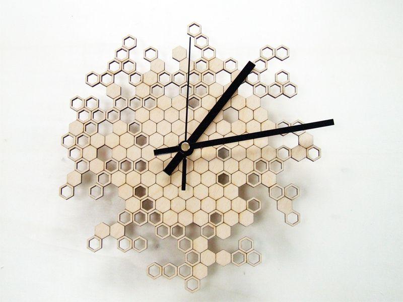 Honeycomb Clock Wooden Wall Clock Modern Laser By