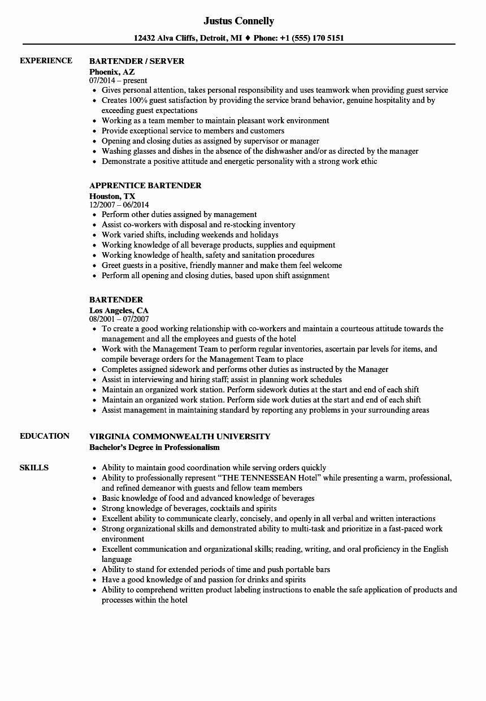 Bartender Job Description Resume Inspirational Bartender
