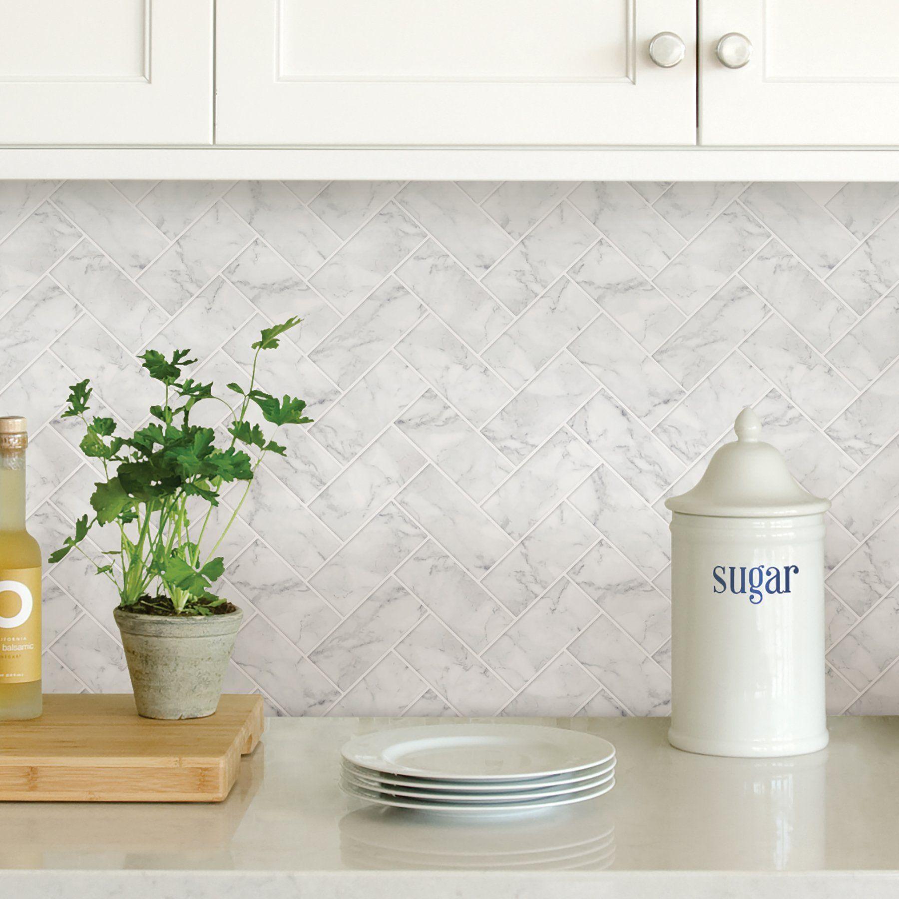 Wallpops Herringbone Carrara Marble Peel And Stick Backsplash Tile