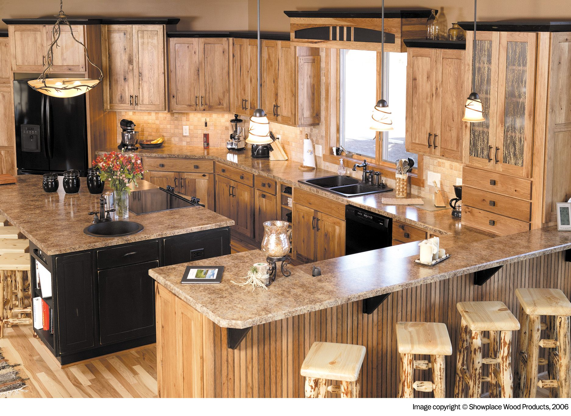 Hickory cabinets with granite counters cabin home for Rustic kitchen cabinets