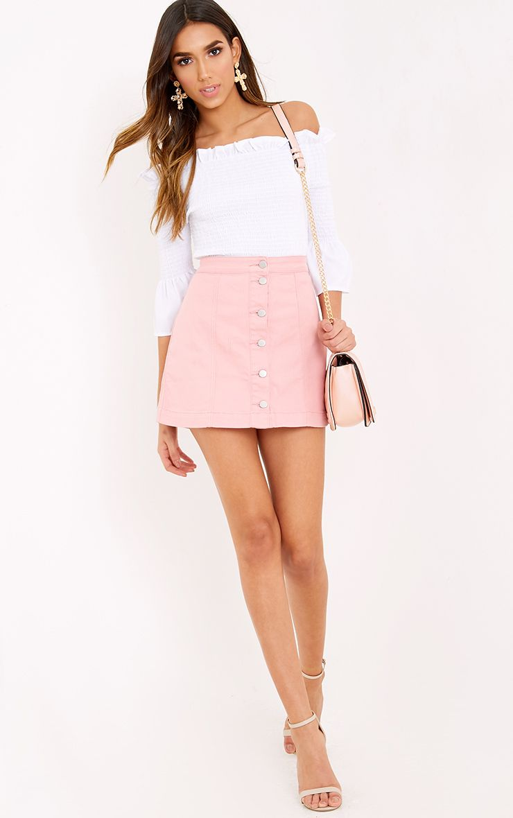 Pink Denim Mini Skirt There s no cuter way to rock denim this season than  with this button d. 39995d34e