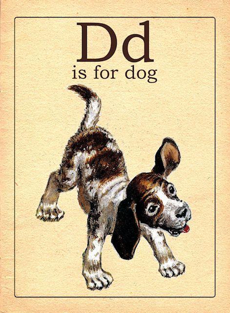 The Letter D Vintage Alphabet Flash Card