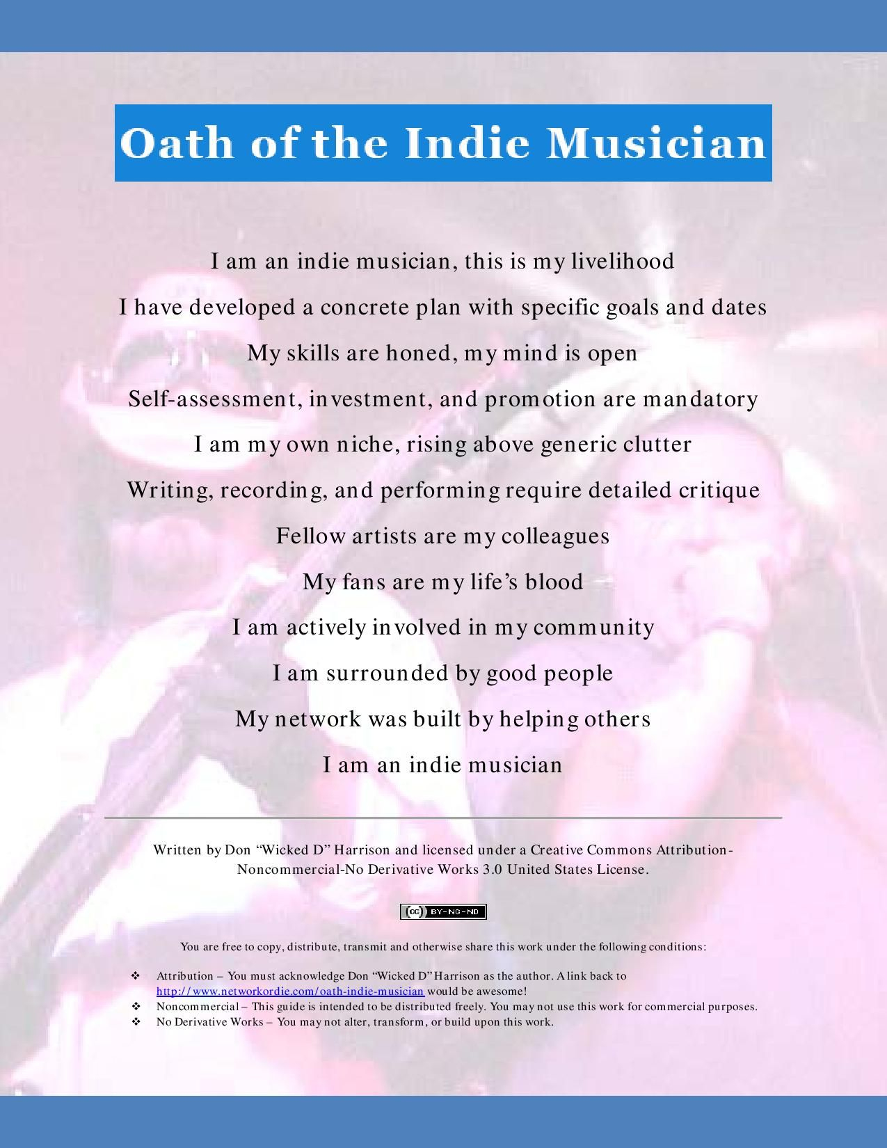 Downloadable PDF version of 'Oath of the Indie Musician