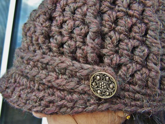 Crochet Newsboy Cap with Buttons -Brown