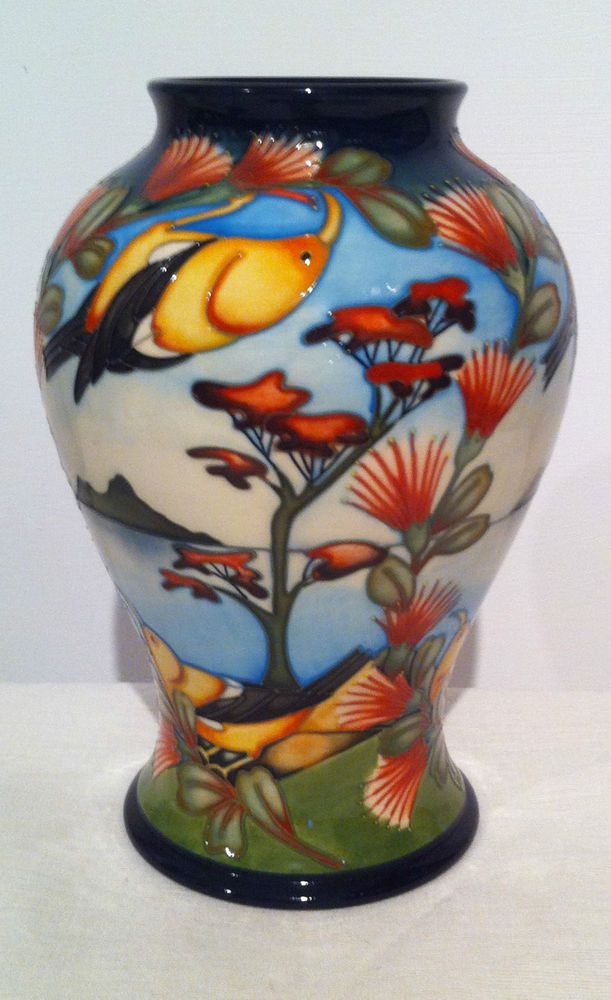 Moorcroft Hawaiian Honey Creeper Mib Vase Pot First Quality