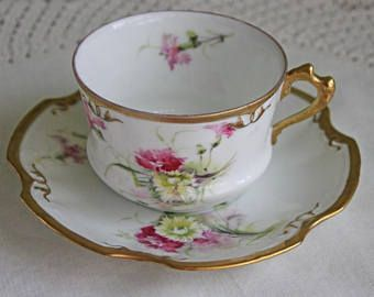 Limoges Coronet Tea Cup with Saucer. Fine French Porcelain with ...