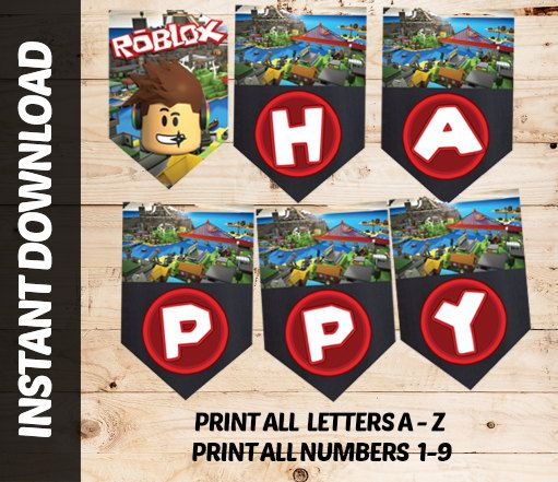 Instant Download ROBLOX Printable Birthday Invitation Bunting FLAG Welcome Print Block Pixels Diy Adobe Personalised Custom