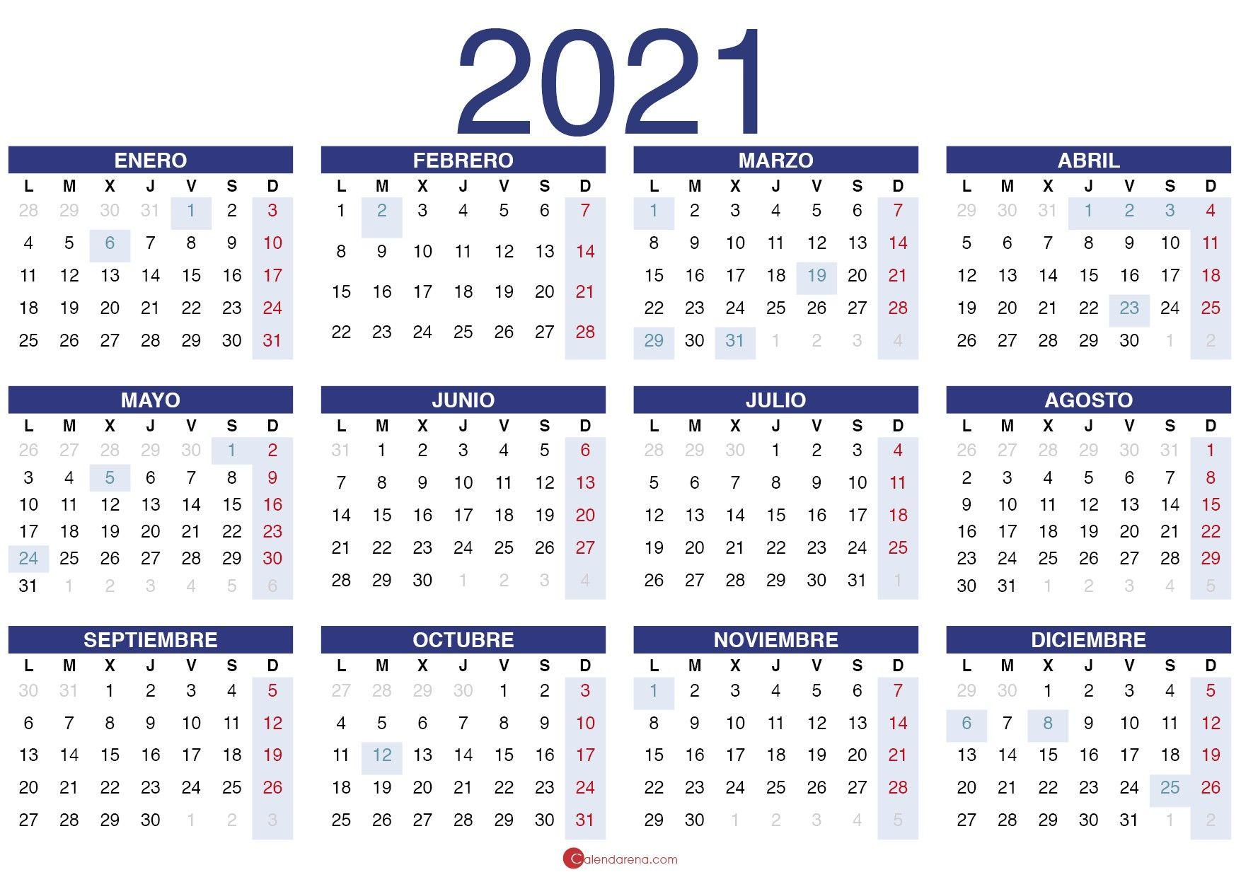 Calendario 2021 Pdf Calendario Para Imprimir Gratis Plantilla De Calendario Para Imprimir Calendario En Blanco