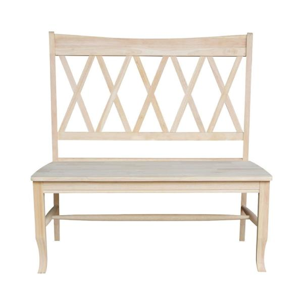 International Concepts Double X Back Unfinished Solid Wood Bench Be 20 The Home Depot Solid Wood Benches Wood Bench Unfinished Furniture