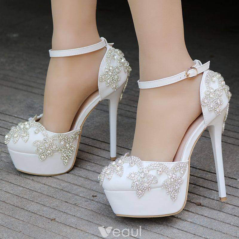 cd9f8511064 Modern / Fashion Ivory Wedding Shoes 2018 Rhinestone Ankle Strap 14 ...