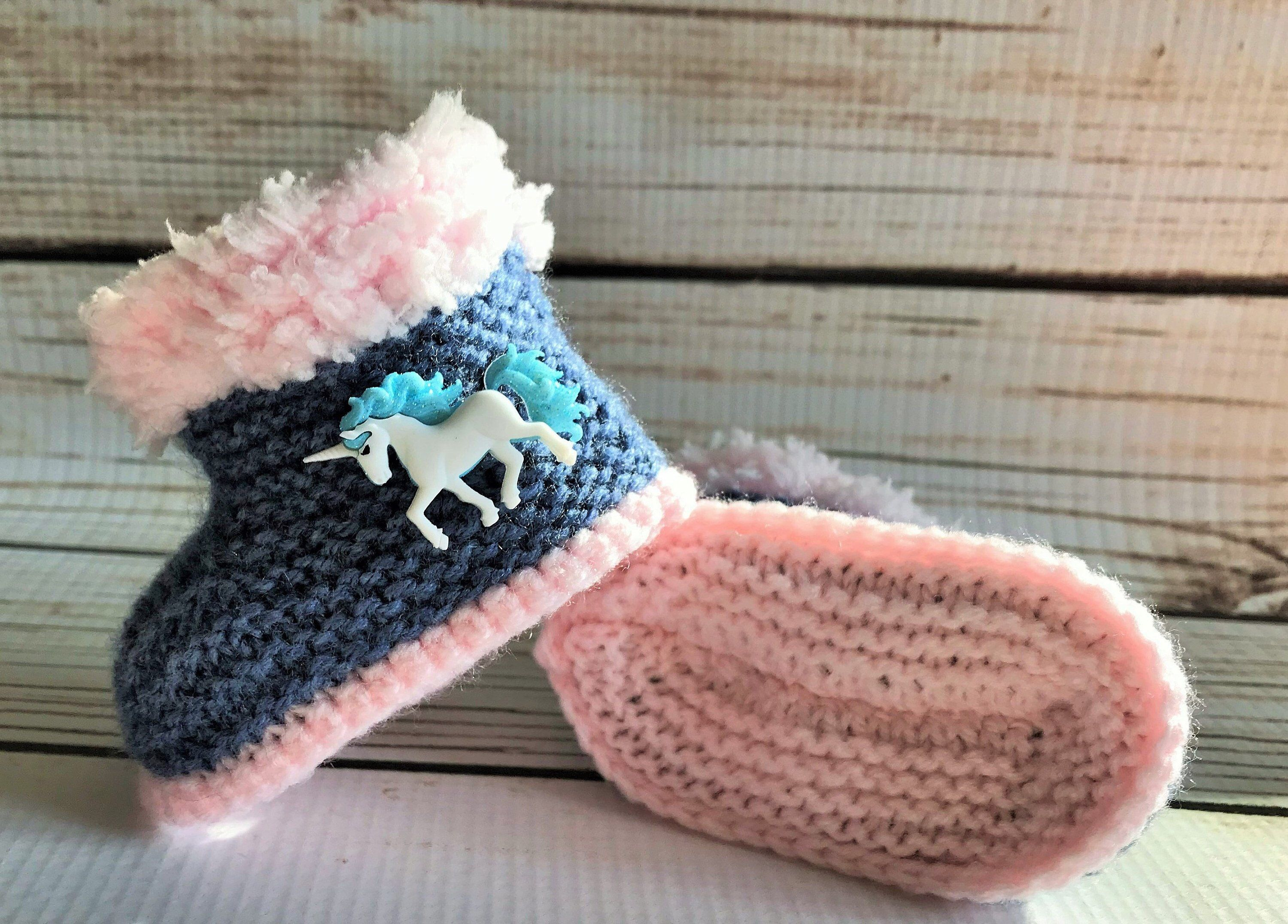 40aed537b2054 Hand Knitted Unicorn Baby Boots 0- 12 Months | crochet | Baby boots ...