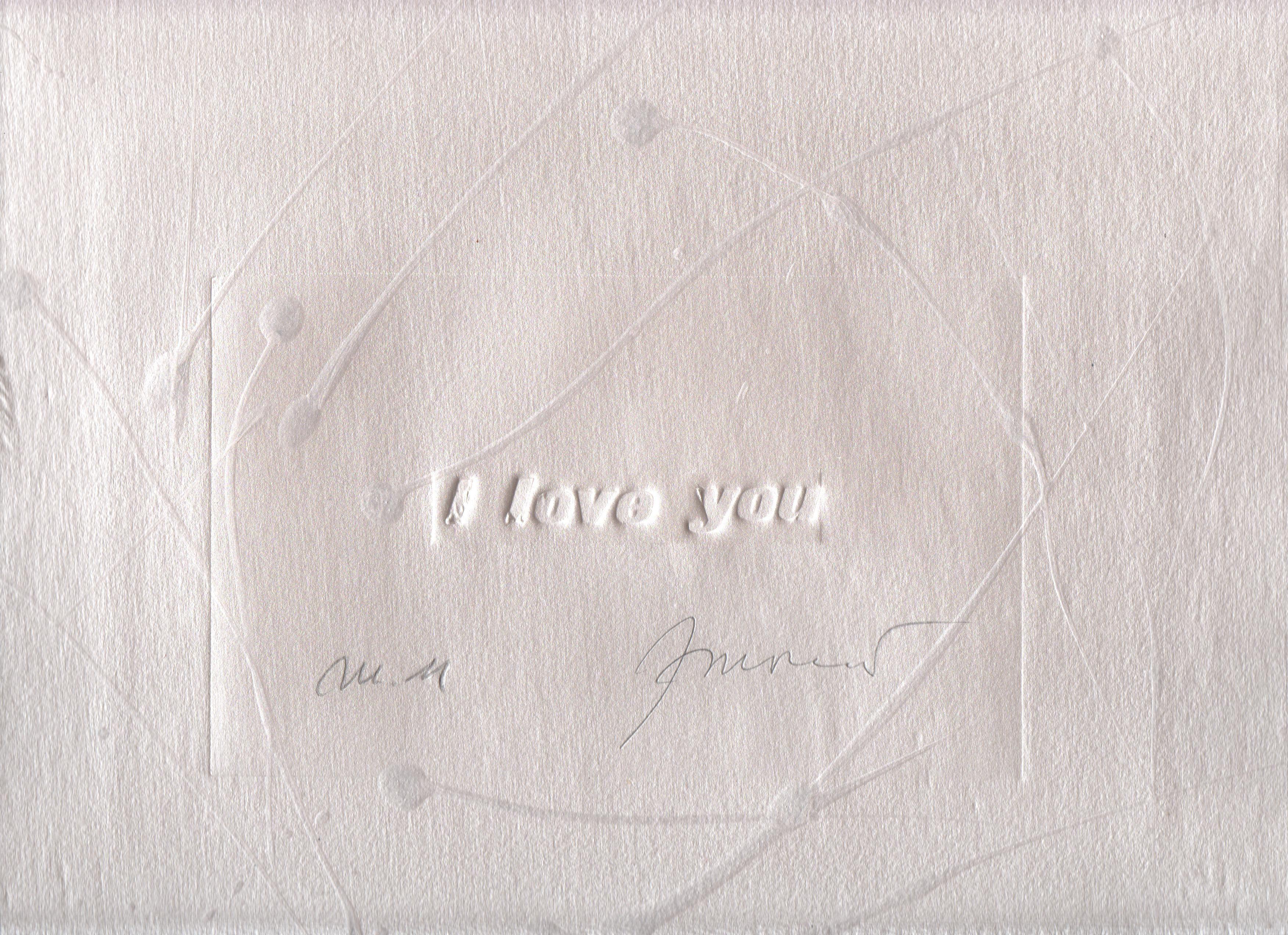 I love you argento, incisione su acrilico, intervento a mano, 30x26,6 cm