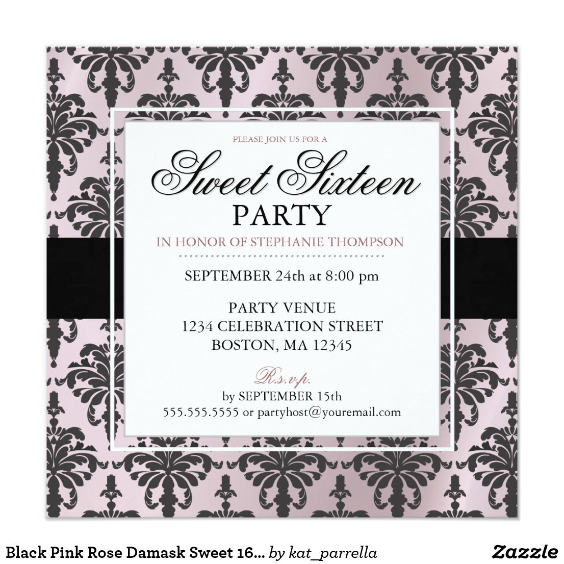 Black Pink Rose Damask Sweet 16 Party Invitations