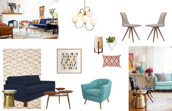 Eclectic and fun living room concept