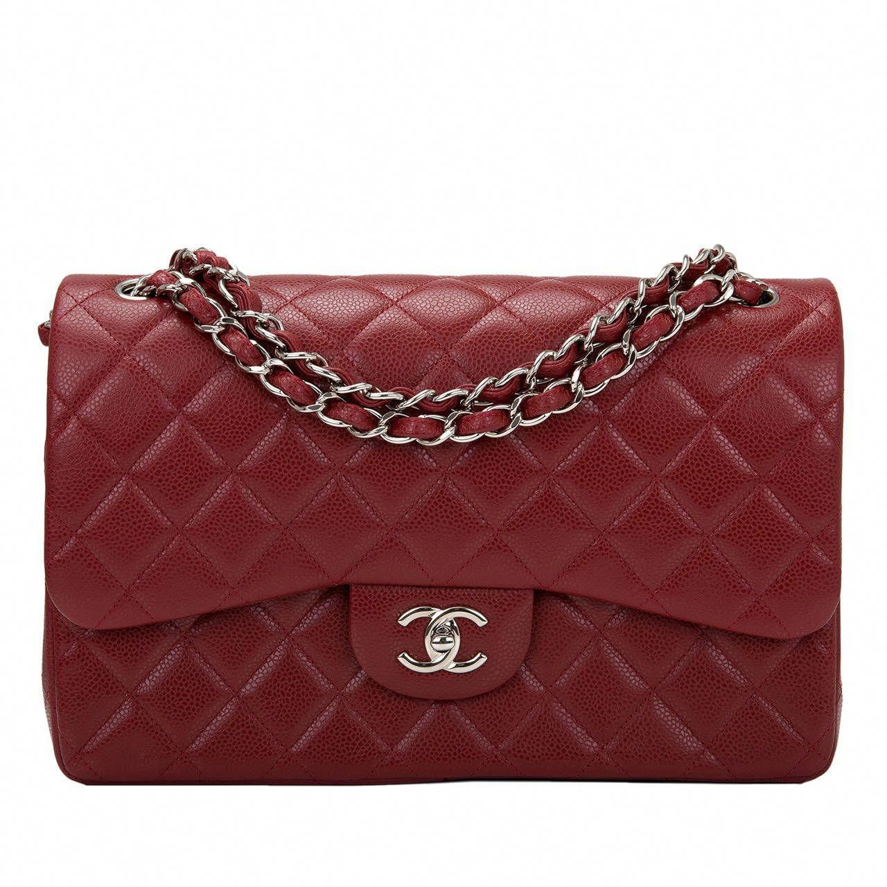 Chanel Burgundy Quilted Caviar Jumbo Classic Double Flap Bag  ee74ac9d86d52