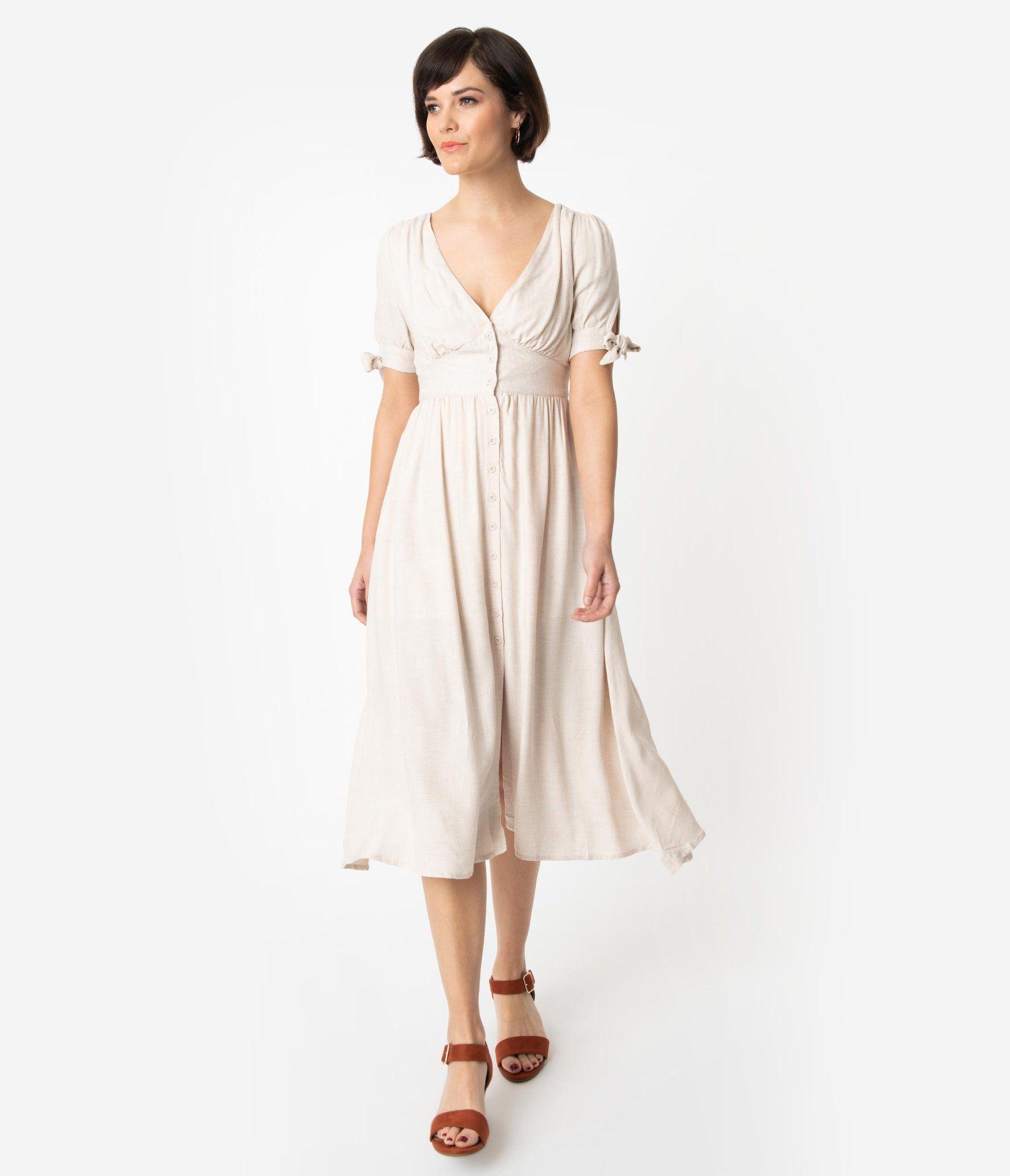 1930s Style Toasted Oatmeal Woven Short Sleeve Button Up Midi Dress Unique Vintage 1930s Fashion Unique Dresses Cap Dress [ 2048 x 1759 Pixel ]