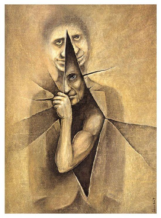 Amazing conceptual drawings by Slawek Gruca - Ego - AlterEgo | Conceptual  drawing, Art, Portrait art