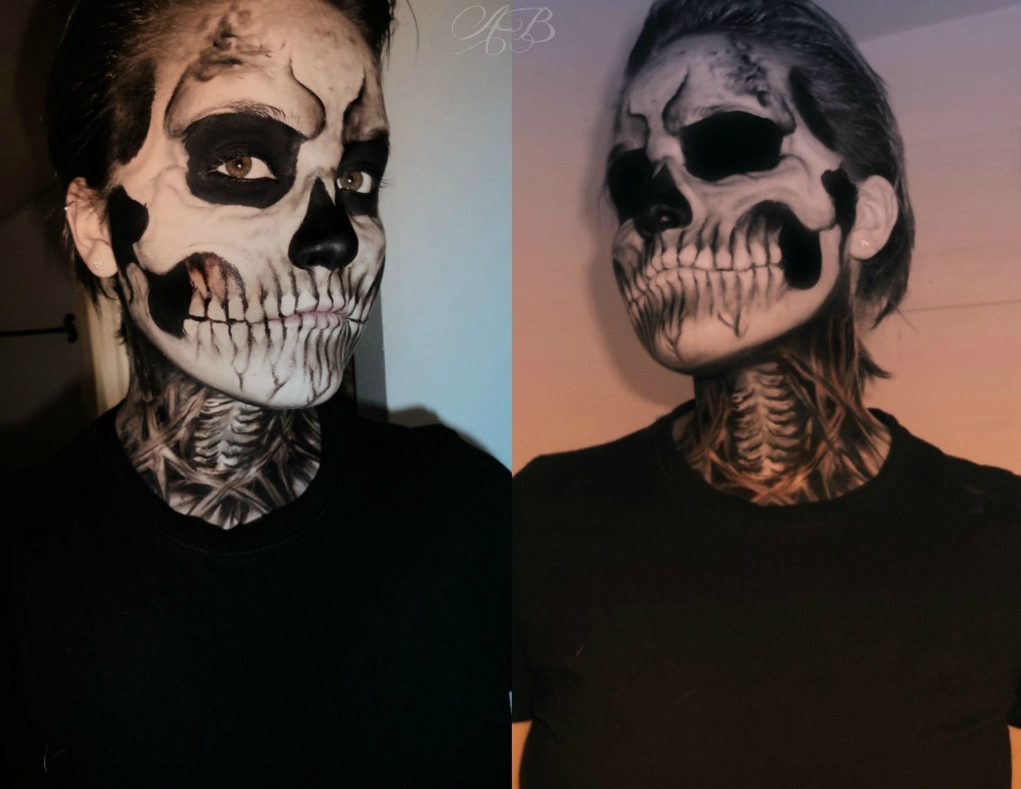 skeleton face paint voodoo skull face paint - Halloween Skull Face Paint Ideas