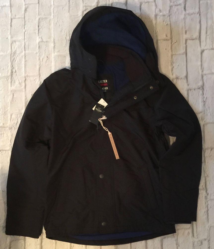 Hollister By Abercrombie All Weather Coat Jacket Men S Black Hooded Fleece M Men S Coats And Jackets Mens Jackets Coats Jackets [ 1000 x 863 Pixel ]