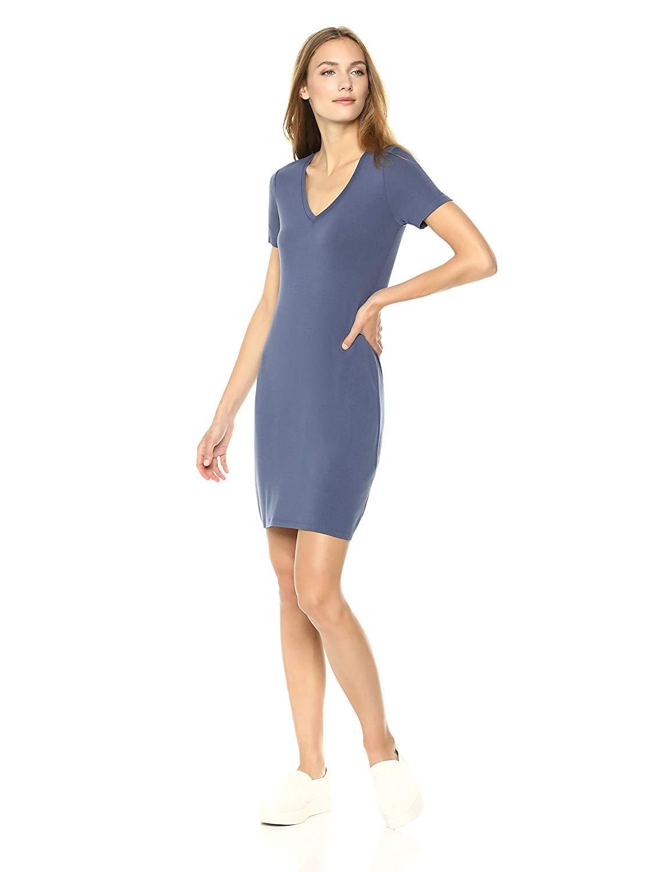 Daily ritual womenus jersey shortsleeve vneck tshirt dress