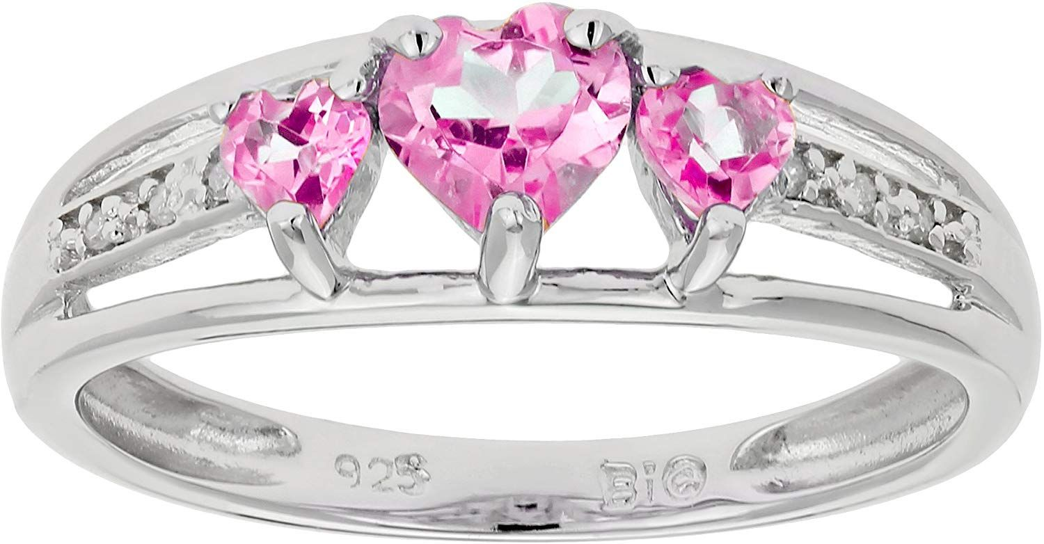 90 Ct Triple Heart Pink Sapphire And 018 Cttw Diamond 10k White Gold Ring Read More At The Image Link In 2020 Heart Shaped Rings White Gold Rings Pink Sapphire