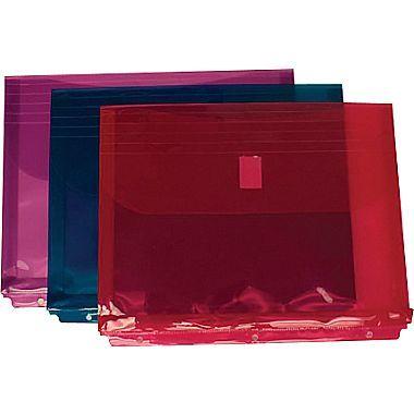 JAM Paper® 8 5/8in. x 11 1/2in. Binder Envelopes With Hook and Loop Fastener Closure, Assorted, 12/Pack