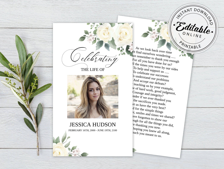 Editable Funeral Prayer Card Template Printable Memorial Prayer