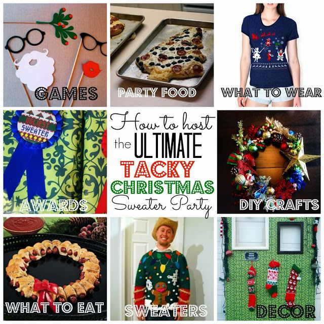 Using this to plan my Tacky Christmas Sweater Party-- tons of ideas for food, invites, decor, diy crafts and more! @craftytexasgirls.com #tackysweater #christmassweater #tackychristmas #uglysweater