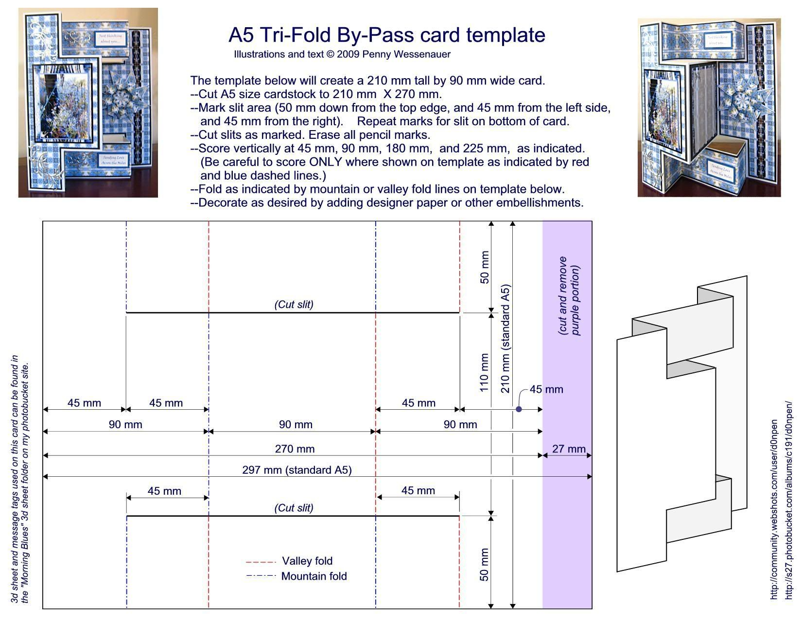 A-5 Tri-Fold By-Pass card template