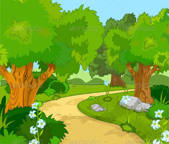 Forest Landscape Spring Tree Font Logo And Fonts
