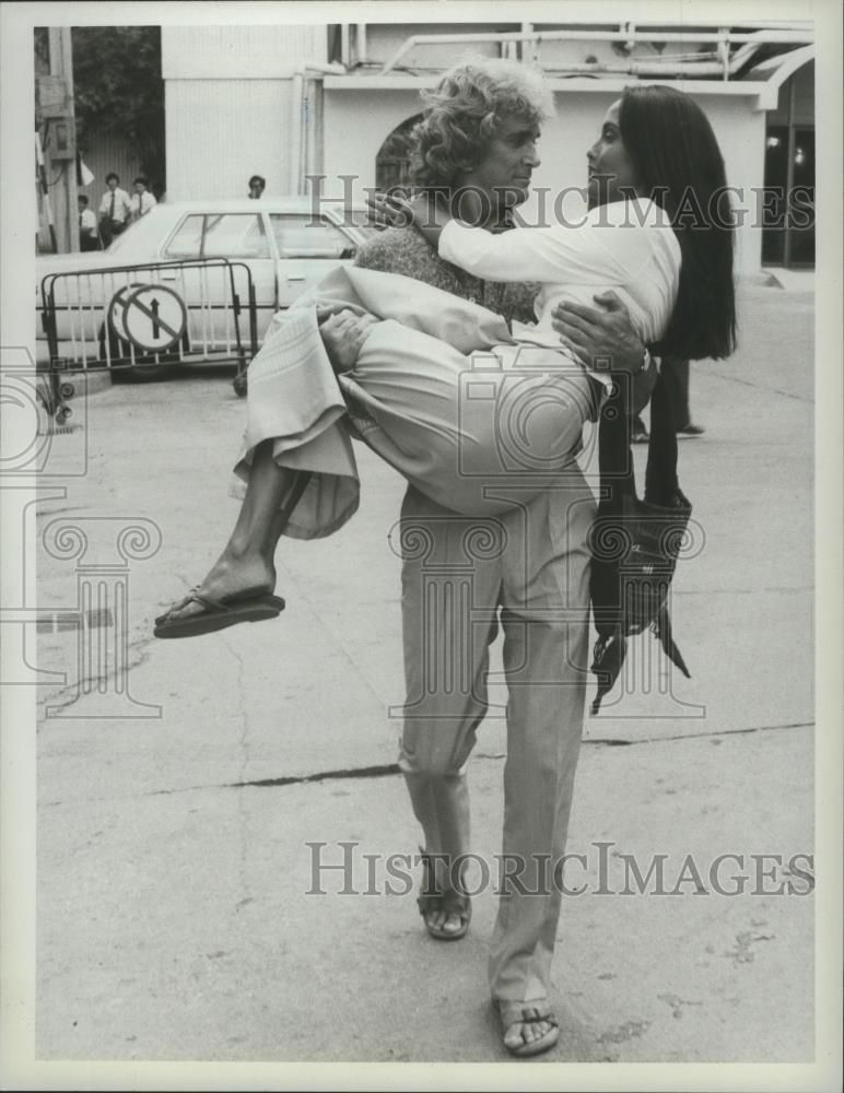 1983 Press Photo Michael Landon and Moira Chen stars in Love is