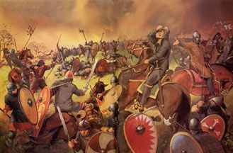Depiction of the Battle of Hastings from the Essential Norman Conquest - An interactive day-by-day retelling of the events of 1066
